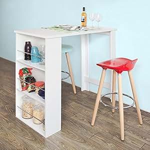 sobuy fwt17 w table haute de bar mange debout cuisine avec rangements blanc. Black Bedroom Furniture Sets. Home Design Ideas