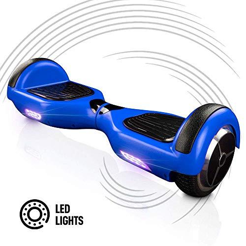 acbk - patinete eléctrico hover autoequilibrio basic con ruedas de 6.5 + luces led integradas, velocidad máxima: 10-12 km/h - autonomía 10-20 km - carga soportada: 20-100kg (azul)