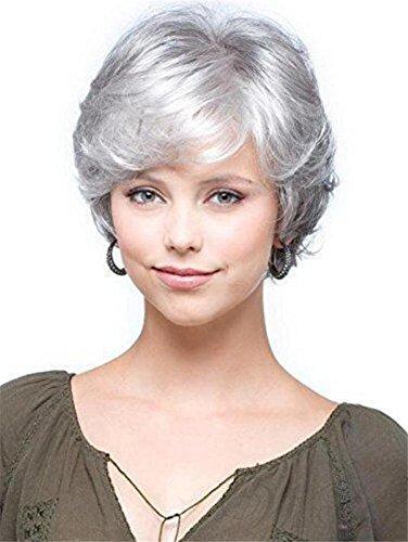 UIGJING Kurz Grau Weiß Lockig Perücke Damen,Kurzhaar Perücken und Perückennetz Oma Großmutter Frauen Super Natürlich Volle Synthetik Wig wie Echthaar 12