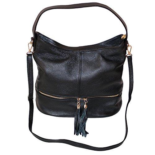 Dazoriginal schulter tasche damen Handtasche echtleder Schulterbeutel  Lederhandtasche Umhängetasche SCHWARZ SCHWARZ