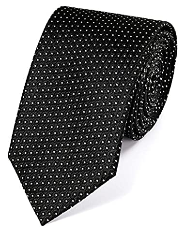 Black and White Silk Neat Pattern Classic Tie by Charles