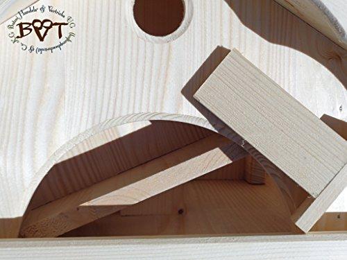 Vogelhaus, groß, BEL-X-VONI5-LOTUS-LEFA-at002 Großes wetterfestes PREMIUM Vogelhaus mit wasserabweisender LOTUS-BESCHICHTUNG VOGELFUTTERHAUS + Nistkasten 100% KOMBI MIT NISTHILFE für Vögel WETTERFEST, QUALITÄTS-SCHREINERARBEIT-aus 100% Vollholz, Holz Futterhaus für Vögel, MIT FUTTERSCHACHT Futtervorrat, Vogelfutter-Station Farbe schwarz lasiert, anthrazit Schwarzlasur / Holz natur, MIT TIEFEM WETTERSCHUTZ-DACH für trockenes Futter - 6