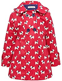 Minoti Red White Dog Print Long Sleeve Hooded Double Breasted Button Front Mac Raincoat