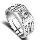 Ogquaton 1 Paio di Anelli di Diamanti Eleganti Uomini di Cristallo Aperto Anelli Gioielli da Sposa per Uomo Ragazzi - può Essere Regolabile