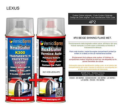 Auto-Ausbesserungsset - Autolack in Metallic/Perlfarbe 4P2 Beige glänzend Flake Met. VerniciSpray und Glanzlack, 400 ml -