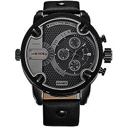 Alienwork DualTime Quartz Watch Multi Time Zones Wristwatch XXL Oversized Leather black black OS.WH-3301-B-3