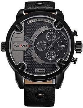 Alienwork DualTime Quarz Armbanduhr Multi Zeitzonen Quarzuhr Uhr XXL Oversized schwarz Leder OS.WH-3301-B-3