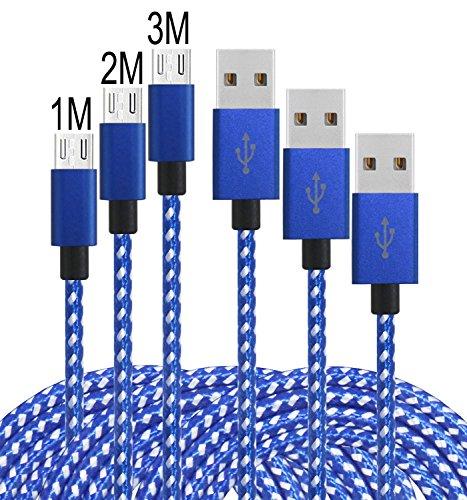 Micro USB Kabel [3Pack] Leginda 2.0 Nylon, Geflochtenen USB Android Ladegerät Kompatibel zu Android Tablets und Smartphones Samsung Galaxy (1+2+3)M (Blau Weiße)