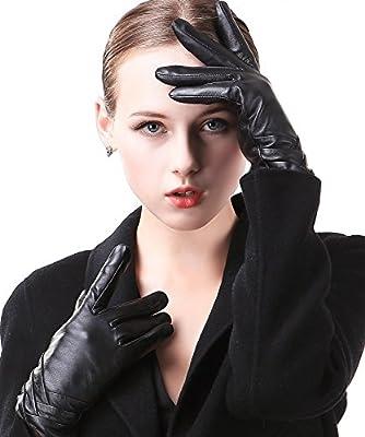 Harrms Damen Winter Handschuhe Echt Leder Touch Screen Gefüttert aus Kaschmir Wolle Lederhandschuhe