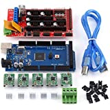 Akozon RAMPS 1.4 Controlador + MEGA2560 R3 + A4988 Con kit de puente Calbe USB con disipador de calor para el kit de impresora 3D