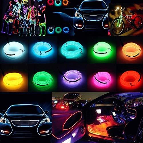 1m/2m/3M/4M/5m auto interior Lighting auto striscia LED Garland el Wire Rope tubo linea flessibile della luce al neon 12V per auto, decorazione per festa, plastica, Green, 5 m