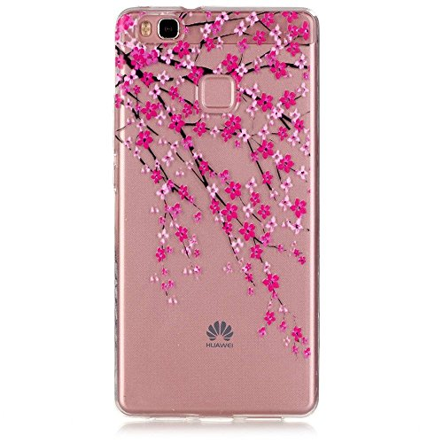Huawei P9 lite Case, JIAXIUFEN Neue Modelle TPU Silikon Schutz Handy Hülle Case Tasche Etui Bumper for Huawei p9 lite- Pink Cherry Blossoms (Blossom Tasche)