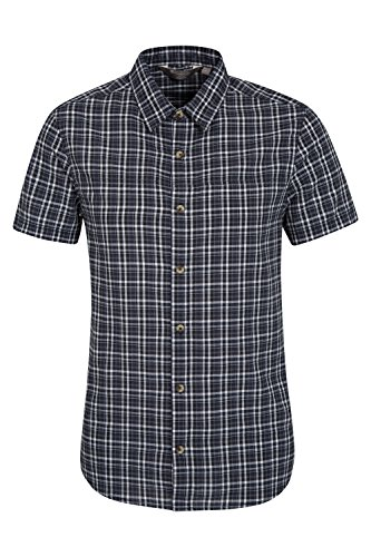 Mountain Warehouse Weekender Mens Short Sleeved Shirt - 100% Cotton With Breathable & Machine Washable Fabric - Great For Everyday, Camping or Travel to Humid Countries