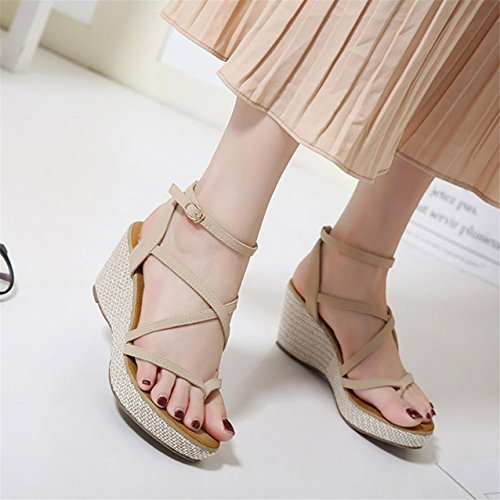 LHWY Damen Sandals Wedge Sandalen Summer High Heel Gladiator Sandalen Khaki
