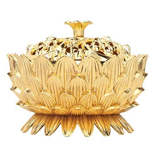 Metal Diseño flor loto Adornado Cono incienso titular