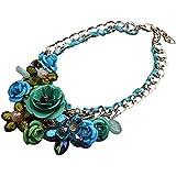Contever® Mujer flor Colgante de Moda Artificial Cristalina Collar Gargantilla , Longitud: 45 cm - Verde