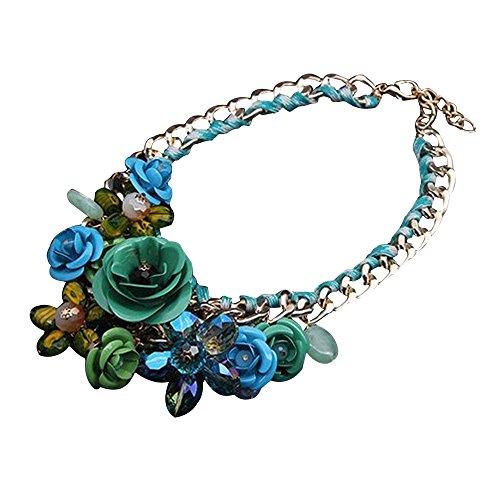 Contever® Elegante di Modo Pendenti monili Bib Chunky Chain Collier Collana cristallo artificiale Fiore della Rosa del Maglione Girocollo Donne Lady ,Lunghezza: 45 cm - Verde