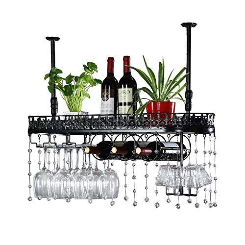 LYN-UP Weinregal, Wandhalterung Home Bar/Weinregal Hängender Glashalter Decke Weinhalter mit Kristallkette (Color : Black, Size : 100x25cm)
