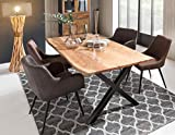 SalesFever Esstisch Baumkantentisch Akazie antikfinish mit schwarz lackierten X-Form Stahlgestell Naturfarben Edge 200 x 100 cm