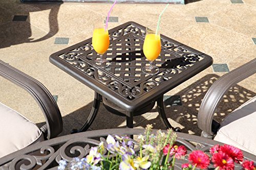 Table de jardin, fonte d'aluminium, 54 x 54 cm, hauteur 47 cm, table basse ou table d'appoint