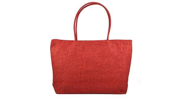 5f98331f9a853 Gleader Damen Stroh Weberei-Sommer-Strand-Einkaufstasche Einkaufstasche mit Reissverschluss  Reisen-rot  Amazon.de  Bekleidung