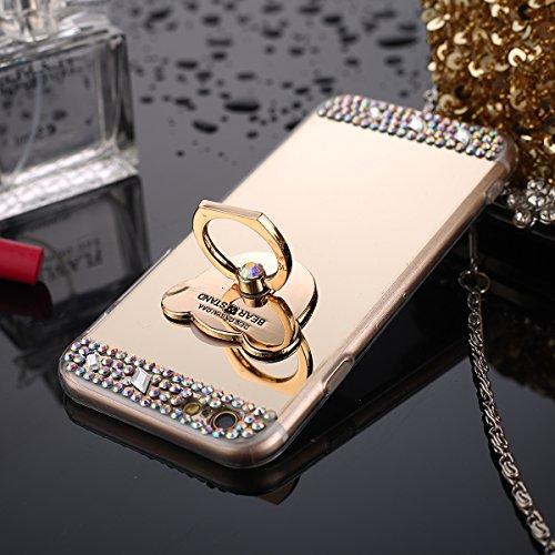 iPhone 7 Plus Hülle,iPhone 7 Plus Schutzhülle,JAWSEU Glitzer TPU Handyhülle Spiegel Hülle für iPhone 7 Plus mit Bär Ring Fingerhalterung Ständer, Spiegel Mirror Effect Glitzer Glänzend Sparkle Strass  Bär Gold