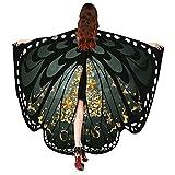 VEMOW 2018 Neue Mode Frauen Weihnachten Karneval 168 * 136CM Flügel Kostüm Schmetterling Flügel Schal Schals Poncho Kostüm Zubehör (X1-Schwarz, 168X136CM)