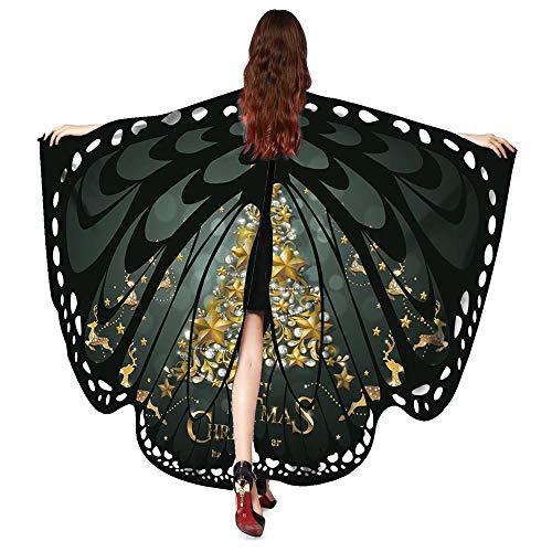 (VEMOW 2018 Neue Mode Frauen Weihnachten Karneval 168 * 136CM Flügel Kostüm Schmetterling Flügel Schal Schals Poncho Kostüm Zubehör (X1-Schwarz, 168X136CM))