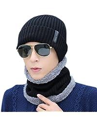 Novawo Unisexe Beanie Mütze mit Teddyfleece Innenfutter, Verdickte Warme Kopfkappe, Strickmütze mit Warmem Schal