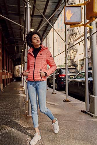 Marikoo Damen Jacke Steppjacke Übergangsjacke mit Kapuze gesteppt B600 [B600-Samt-Coral-Gr.XS] - 5