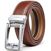 "Men's Leather Ratchet Click Belt Dress with Slide Buckle -Adjustable Trim to Fit (28""-42"" Waist Adjustable, Square Chrome Buckle W Burnt Umber Leather)"