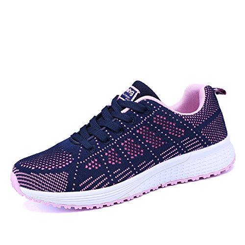 Zapatillas de Deportivos de Running para Mujer Gimnasia Ligero Sneakers Negro Azul Gris Blanco 35-40