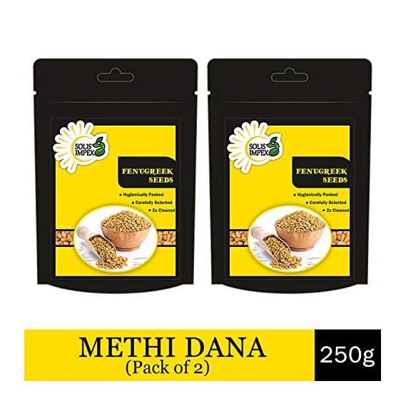 Solis Impex Methi Seeds (250 Grams) Organic Fenugreek Seed Whole Methi Dana Combo Pack (Pack of 2)