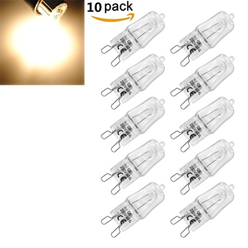 KINGSO 10 Pack Ampoule Filament G9 40W Globe Lampe Halogène 220-240V Blanc Chaud