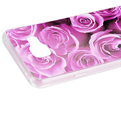 Custodia Samsung Galaxy J3 (2016 Model), HB-Int 3 in 1 Ultra Slim Custodia Crystal Chiaro Shell Custodia Trasparente Morbida Case Flessibile TPU Gel Caso Ultra Sottile Leggera Copertura Anti Graffi Si Rosa Roses