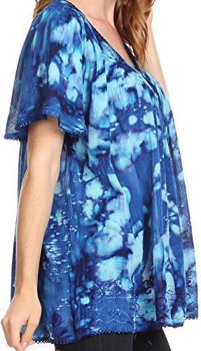 Sakkas Laylah long et large à manches courtes broderie dentelle Sequin Blouse Shirt Tunique Bleu royal