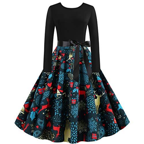 Winkey - Vestito da Donna a Maniche Lunghe, Stile Vintage, Anni '50 e '60 Blue C M