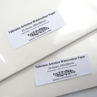 Curtisward Pack of Fabriano Traditional White Artistico Hot Pressed Smooth Watercolour Paper 380x280mm 20 Sheet Pack 300gsm