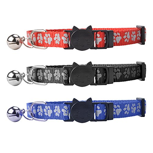 Reflective Cat Collars Safety Release with Bell for Kitten Breakaway, 3 PCS by PUPTECK
