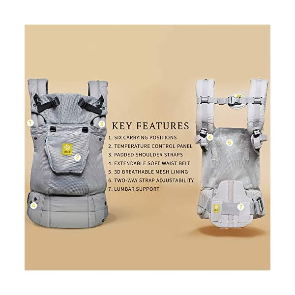 LÍLLÉbaby  Complete Airflow 6-in-1 Baby Carrier, Grey Mist Lillebaby Made from breathable mesh fabric to help keep parent and child cool and comfortable and with 6 carrying positions - Foetal, infant inward, outward, toddler inward, hip, back - The only carrier you'll ever need! Suitable from 3.2- 20kg (birth to approx. 4 years old), providing extended comfortable use for parent and child with no additional infant support required for new-borns - the ergonomic adjustable seat is acknowledged as 'hip-healthy' by the International Hip Dysplasia Institute Unique spacious head support with elasticated straps - soothes infants with gentle lulling motion and provides excellent support as children grow 3