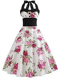 BaZhaHei Swing Vestito Donna Donne 1950 Audrey Hepbun Vintage Elegante  O-Collo Senza Maniche Abito da Sera Mini Bodycon Vestito per… 7953784db75
