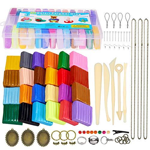 ESANDA Polymer Clay, 26 Farben Knete Ofenback-Kit mit 5 Modellierwerkzeugen, 40 Zubehörteilen, sicherem und ungiftigem DIY-Backmehl - Magic Clay-Kit für Kinder / Erwachsene -