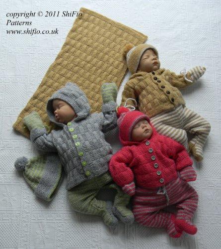 Strickanleitung - KP217 - Set für Babys: Jacke, Mütze, Strampelhose, Handschuhe & Decke in 2 Größen -