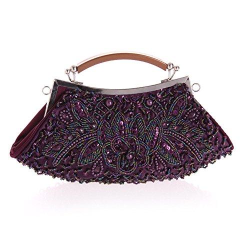sallyshiny Damen Luxus-Pailletten Perlen Kristall Handtasche Abend Clutch Party Hochzeit Tragetaschen violett