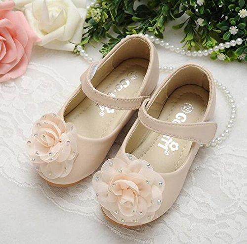 Ohmais Enfants Filles Chaussure cérémonie Ballerines à bride Fête Demoiselle d'honneur Mariage Escarpin plat Babies Blanc
