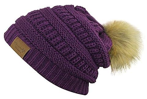 MINAKOLIFE Soft Stretch côtelé à côtes tricoté Faux fourrure pom pom beanie chapeau (violet)