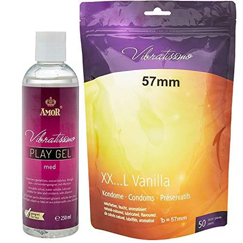 "AMOR Vibratissimo\""Meine Größe 57mm\"", 50er Pack Kondome mit Vanillearoma + 250ml Gleitgel"