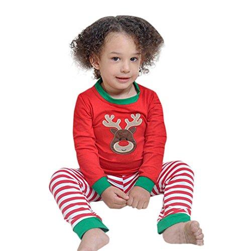 Gaddrt Weihnachten Kinder Kleinkind Baby Mädchen Jungen Hirsch Tops Streifen Hosen Outfit Set Kleider (Schnee Kostüme Für Kleinkinder Monster)