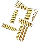 ADF TM 9 x 5 (45 Stück) 15cm Nadelspiel Strumpfstricknadeln Set aus Natürlichen Bambus Stärken 2mm - 10mm