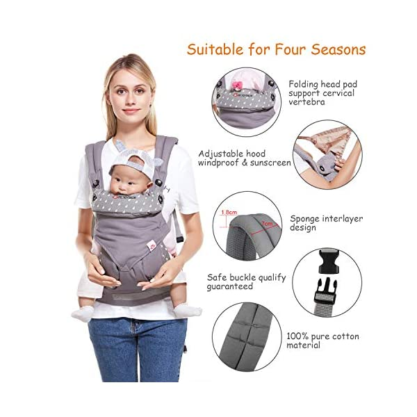 BelleStyle Baby Carrier - Adjustable & Breathable Baby Carrier Sling - Cotton Comfort Ergonomic Front and Backpack Baby Carriers for Newborns, Infants & Toddlers (3.5 to 20 kg), Dark Grey  ★All Seasons in One: Made of skin-friendly 100% cotton fabric, with a good breathable performance, comfortable and suitable for any season, one carrier fits different weathers. Lightweight and easy to bring on the go. ★Safe and Secure: Adopt the back strap and two-fold drop-proof fastener to prevent the shoulder strap from slipping off the shoulder, offering your baby a better protection. The foldable backplate assists in protecting your baby's head and neck. ★Ergonomic Design: Helps disperses baby's weight, plus, with the widened and thickened shoulder strap that can relieve mother's shoulder pressure, it makes mommy/daddy more comfortable and relaxed. Plus, the C+M sitting posture helps to protect your baby's hip bone development without affecting its blood circulation and prevent O-legs. 7